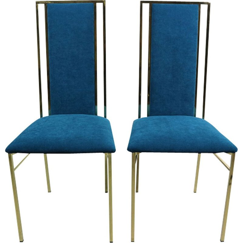 Set of 2 vintage Italian blue dining chairs in brass and velvet by Romea Rega