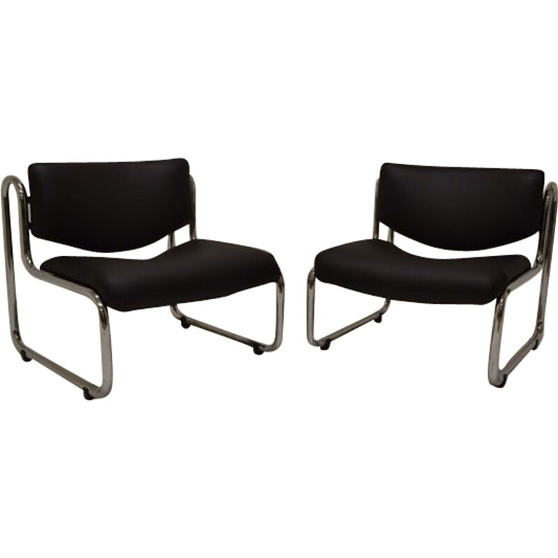 Set of 2 vintage Italian armchairs in chromed metal