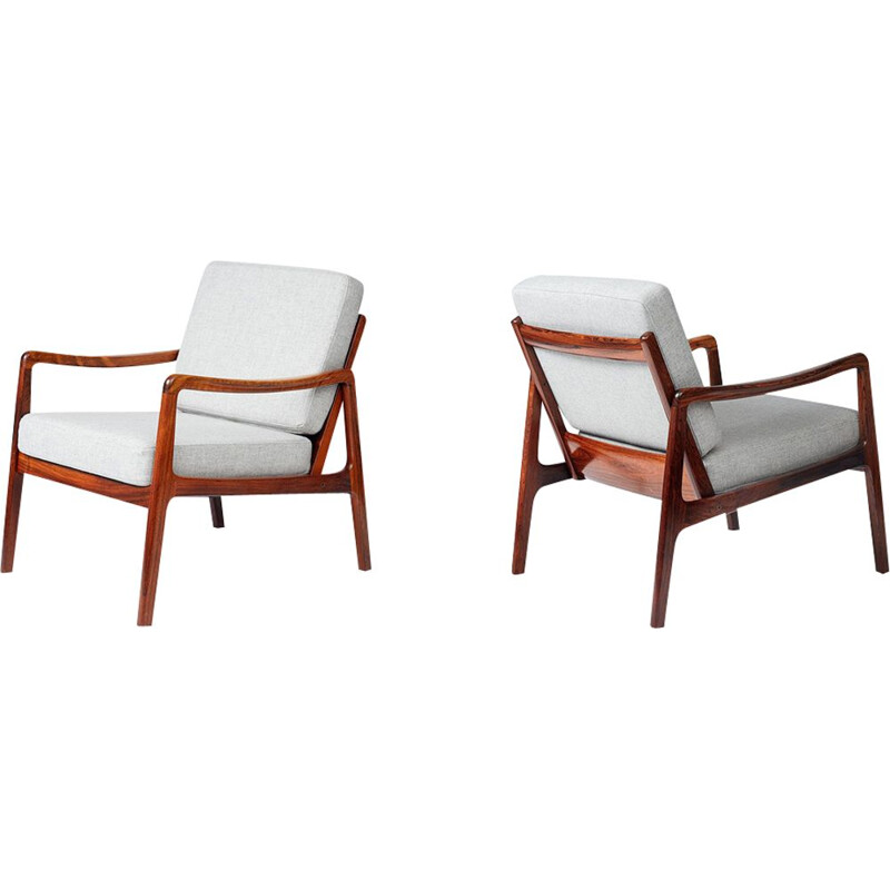 "Set of 2 vintage lounge chairs ""FD-119"" in rosewood by Ole Wanscher"