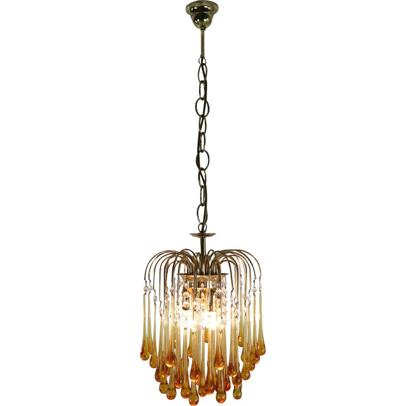 Vintage chandelier in Murano amber glass by Paolo Vanini