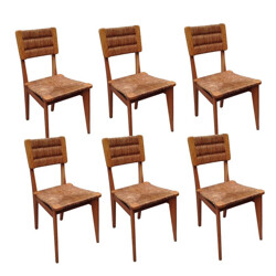 6 vintage chairs in straw, Marcel GASCOIN - 1950s
