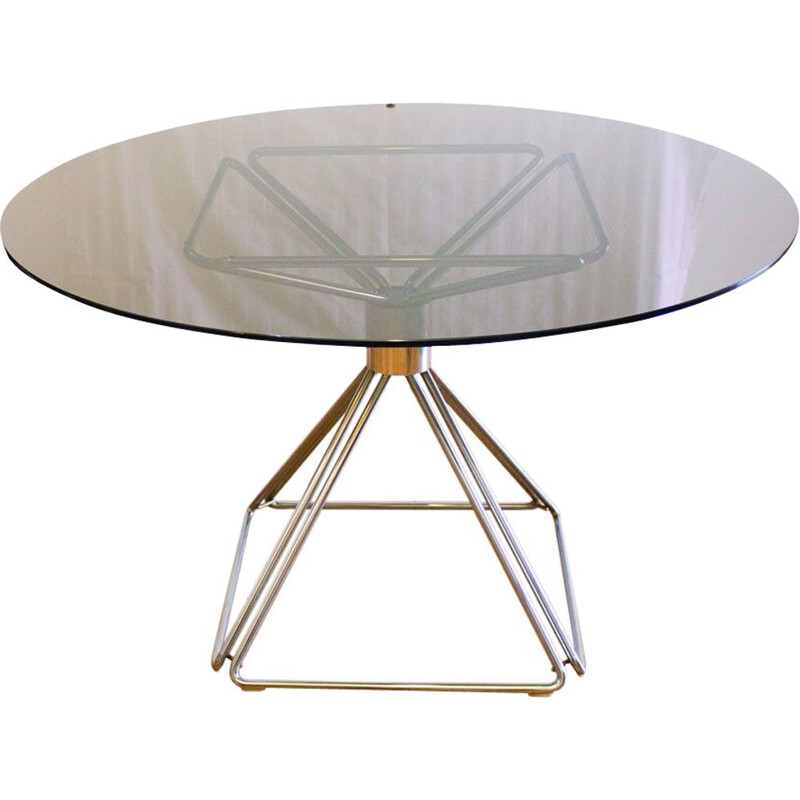 Vintage pyramid table with glass top by Rudi Verelst