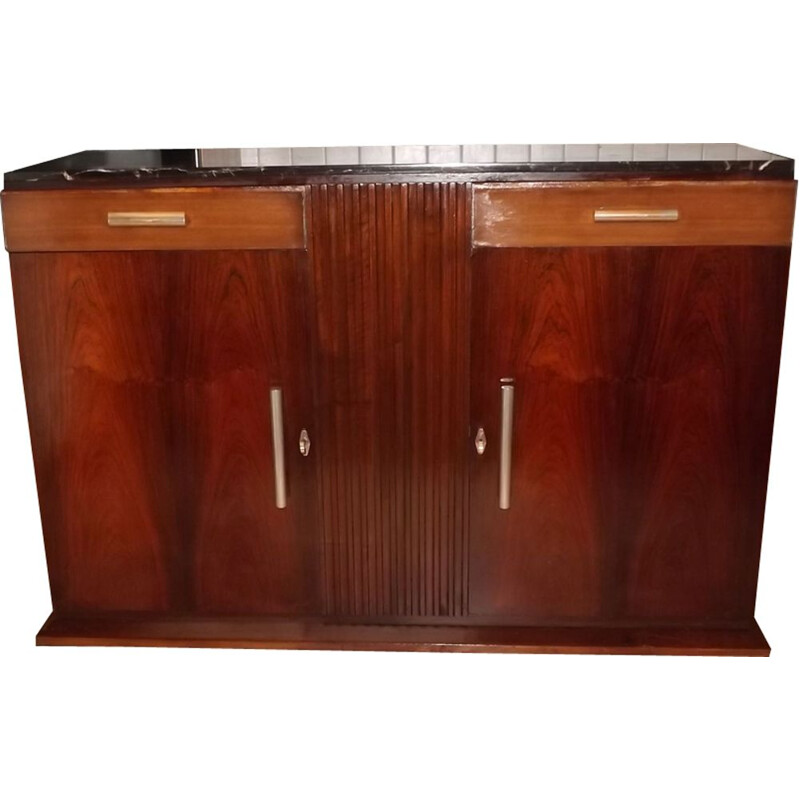 Vintage highboard in rosewood and mahogany by Coene