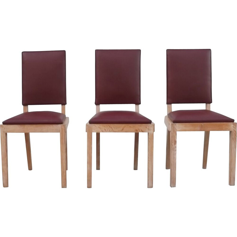 Set of 3 vintage desk chairs by Charles Dudouyt