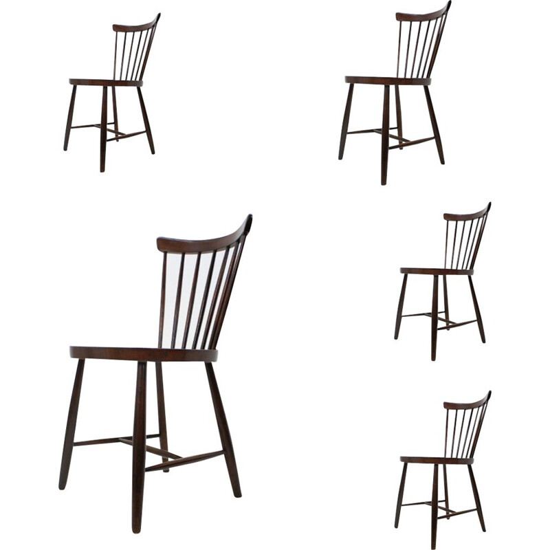 Set of 5 wooden dining chairs