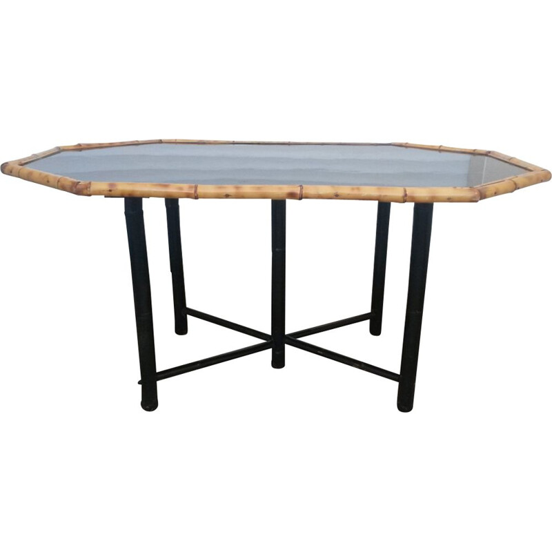 Vintage black dining table in bamboo