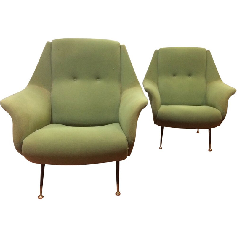 Pair of vintage green armchairs by Gio Ponti