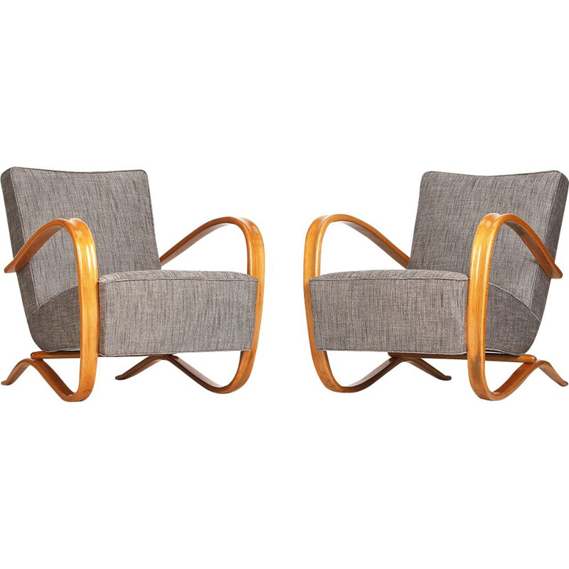 Pair of grey armchairs by Jindrich Halabala for UP Zavody