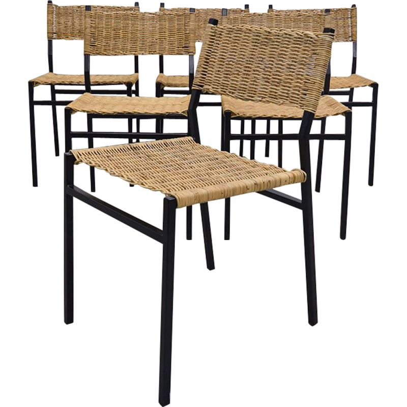Set of 6 dining chairs in wicker by Martin Visser