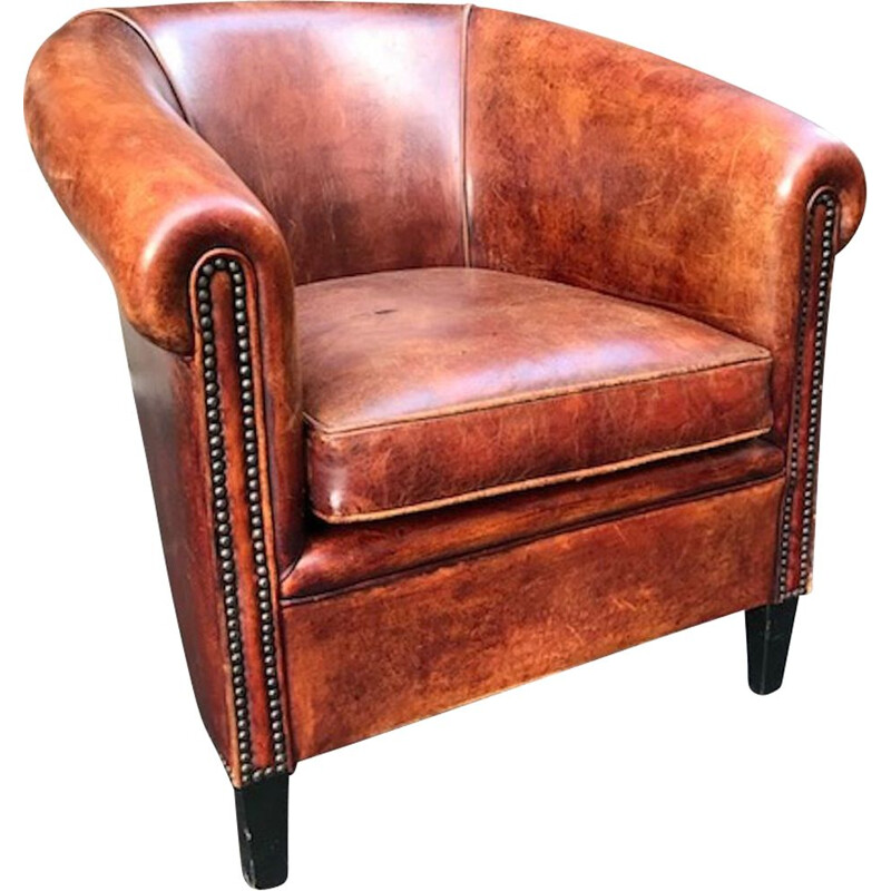 Vintage Club armchair in brown leather