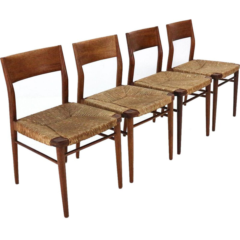 Set of 4 vintage chairs in teak and raffia model 351 by Georg Leowald for Wilkhahn
