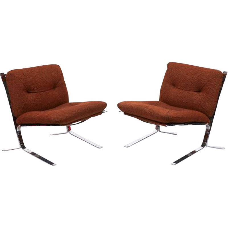 Pair of brown fabric armchairs by Olivier Mourgue