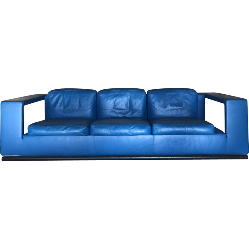Vintage 3-seater sofa in blue leather by Paolo Piva for De Sede