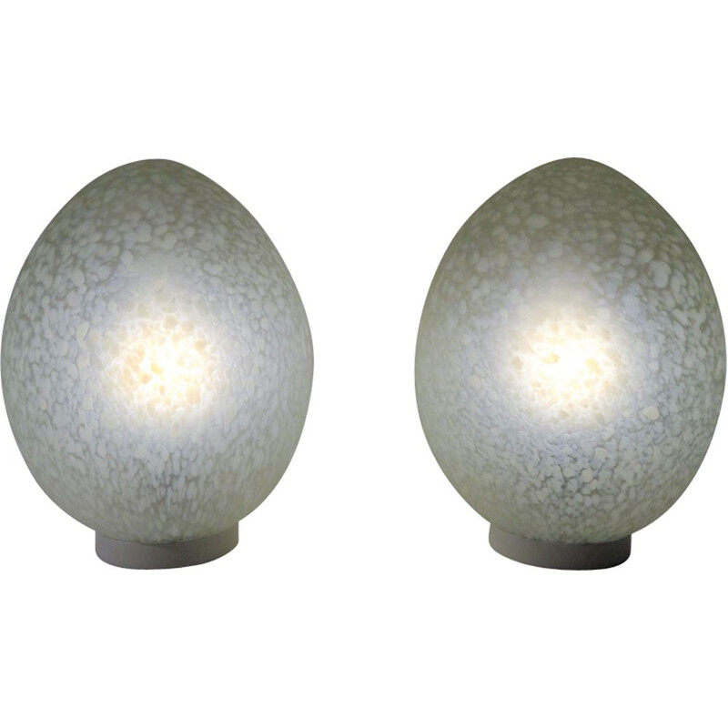 Set of 2 vintage lamps egg by Ben Swildens