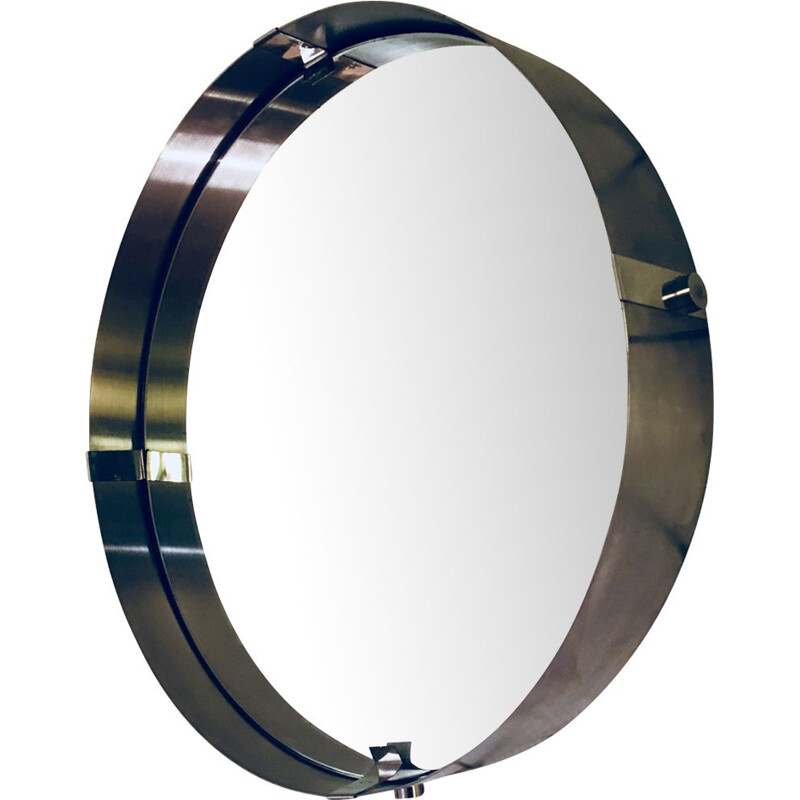 Vintage round mirror in brushed aluminium