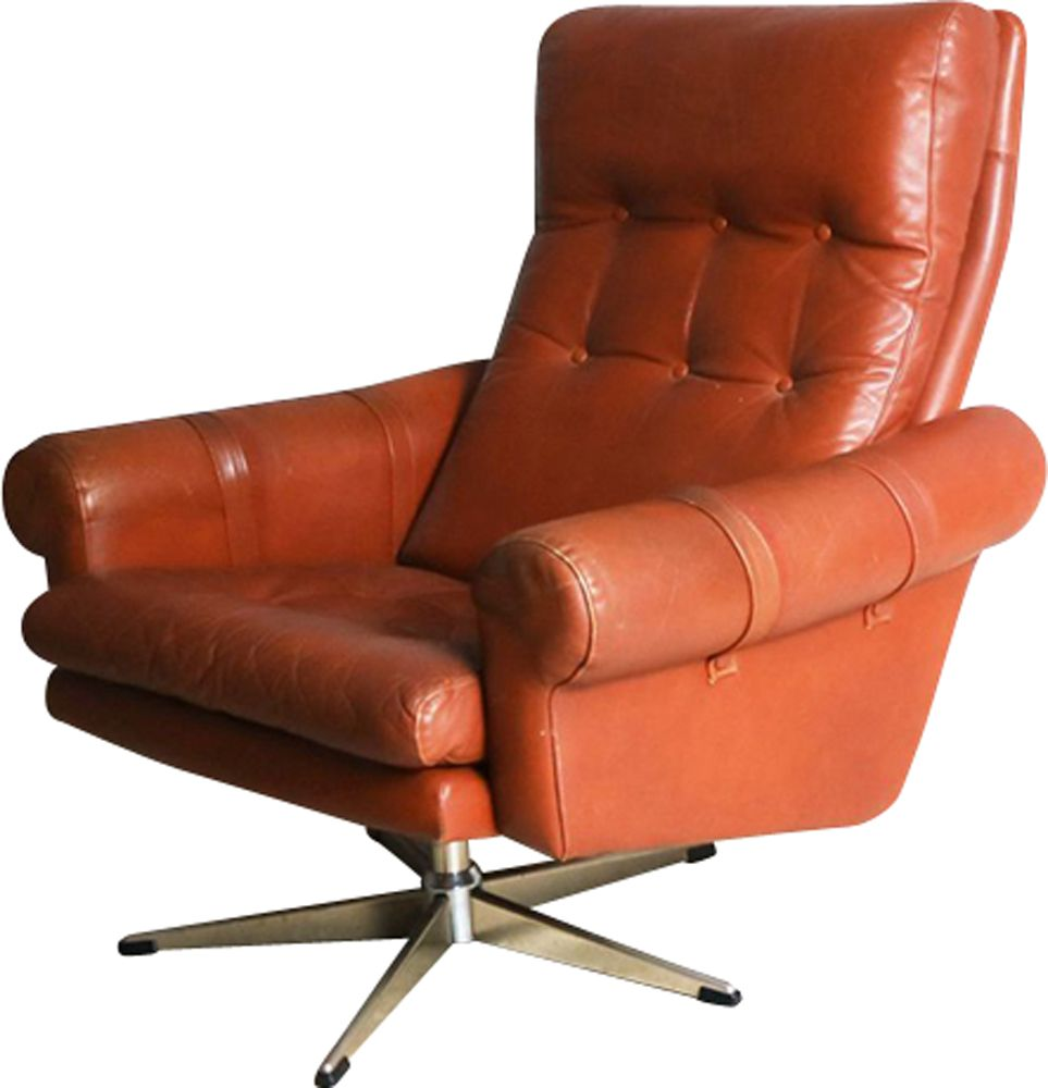Vintage Danish swivel armchair in leather - Design Market