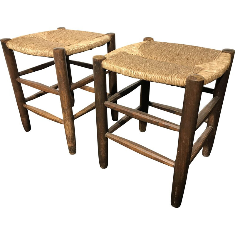 Set of 2 vintage stools by Charlotte Perriand