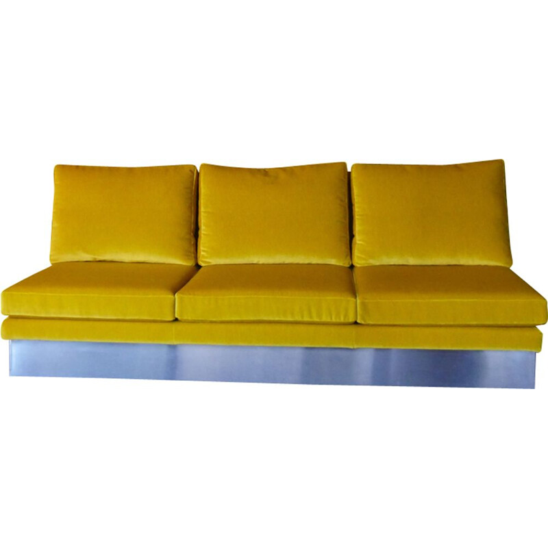 Vintage yellow 3-seater sofa by Willy Rizzo