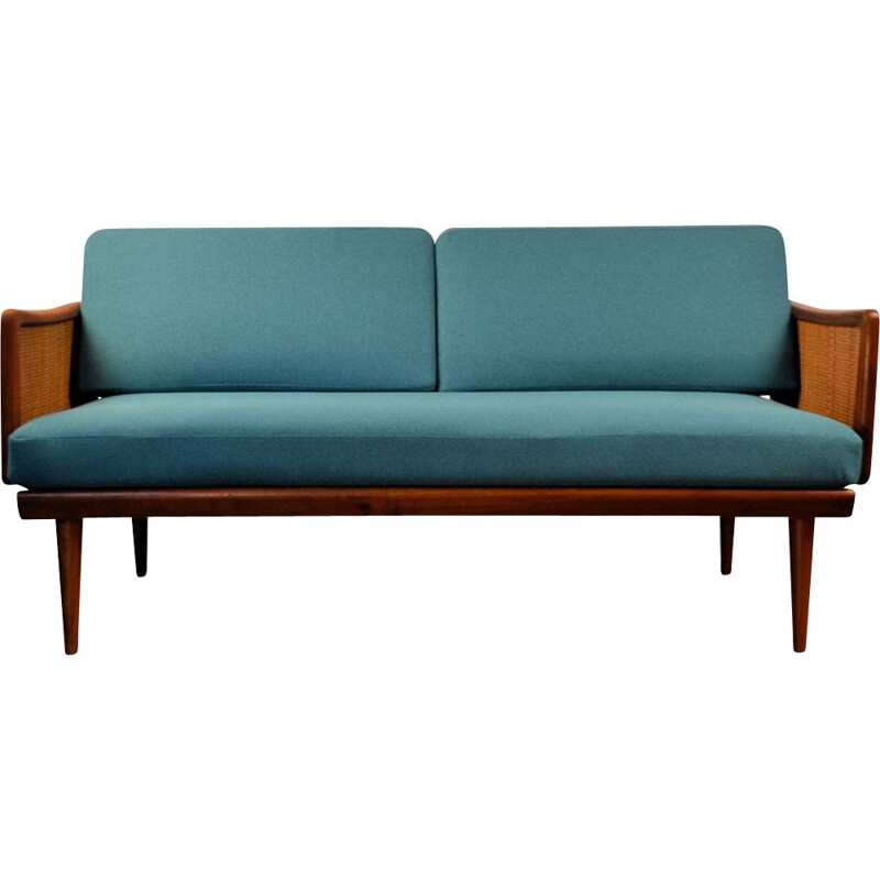 Vintage blue 2-seater sofa in teak by Peter Hvidt & Orla Mølgaard