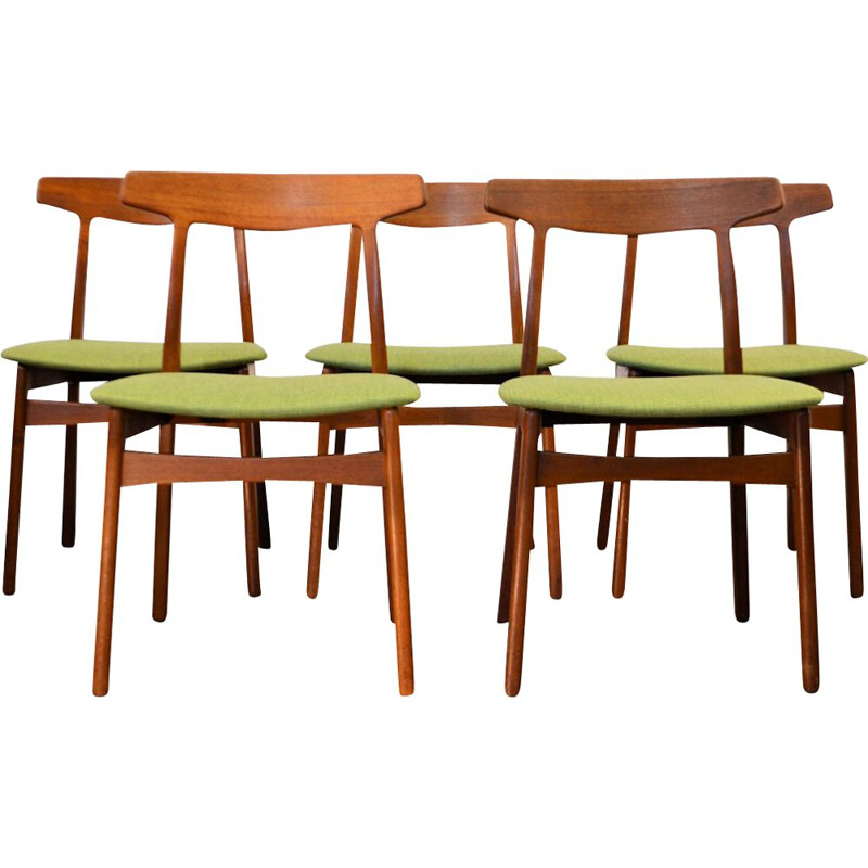 Set of 5 vintage dining chairs in teak by Henning Kjaernulf