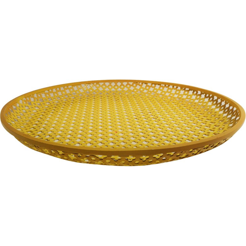 Vintage yellow tray in perforated metal by Mathieu Matégot
