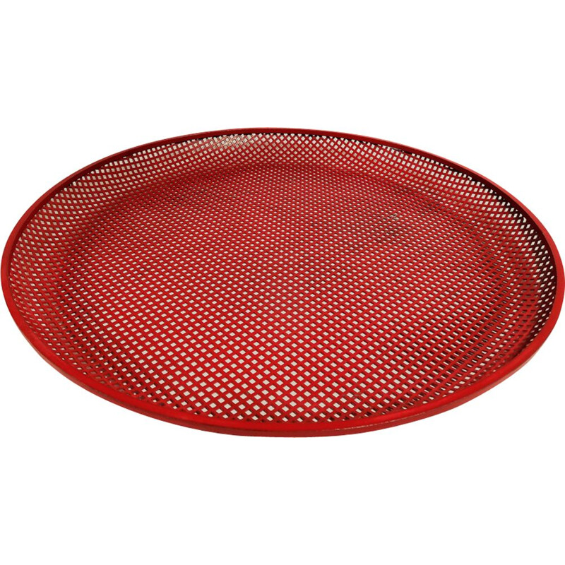 Vintage red tray in perforated metal by Mathieu Matégot