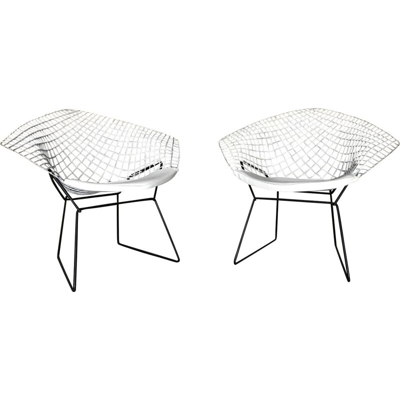 """Set of 2 vintage armchairs """"Diamond"""" by Harry Bertoia for Knoll"""
