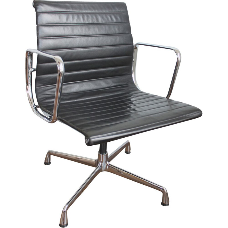 Vintage armchair EA108 black leather and aluminium by Eames for Vitra