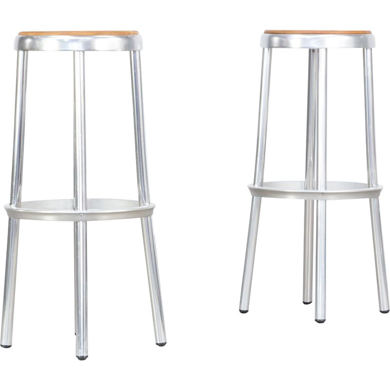 Set of 2 vintage stools in aluminium and framed wooden
