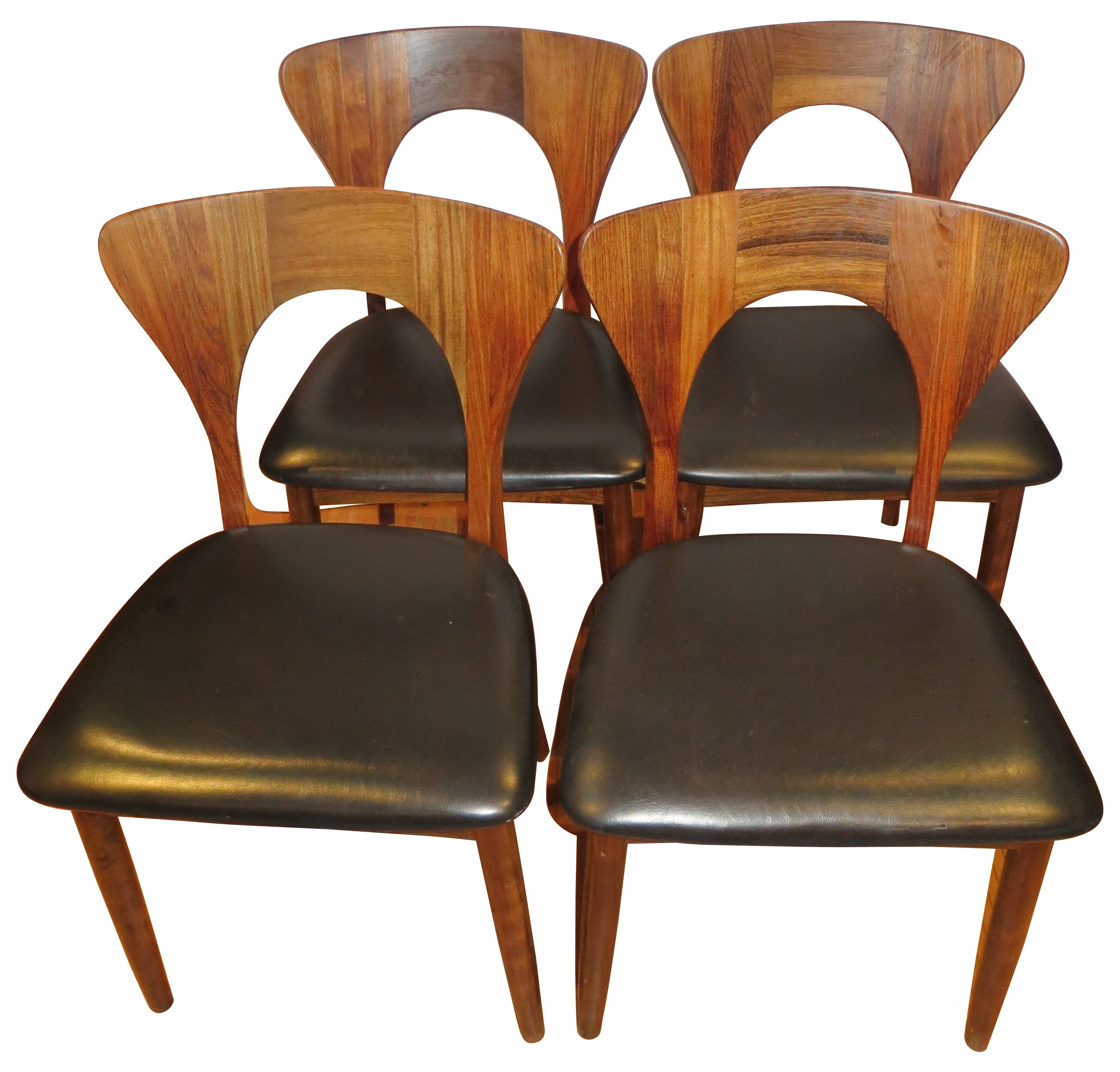 Set of 4 Peter chairs in Rio rosewood and black leatherette Niels