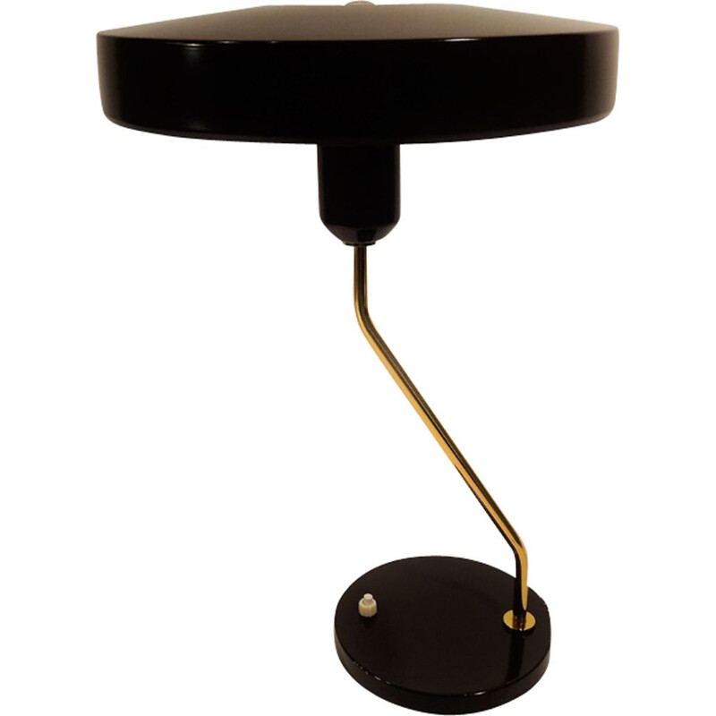 Vintage black metal lamp by Louis Kalff