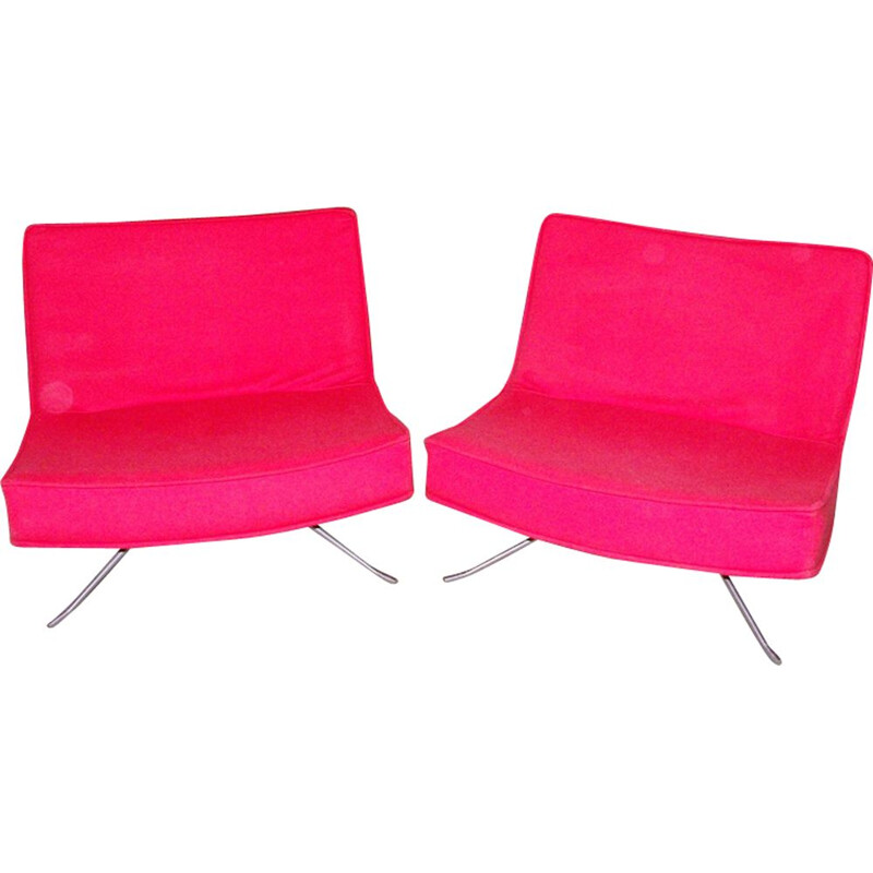Pair of vintage red armchairs by Christian Werner