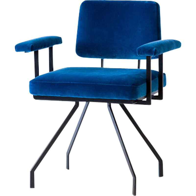Vintage Italian chair in iron and blue velvet