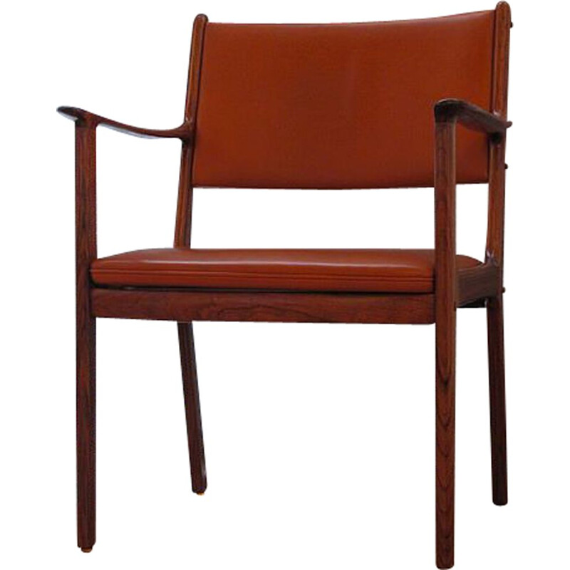 Vintage rosewood and leather chair by Ole Wanscher