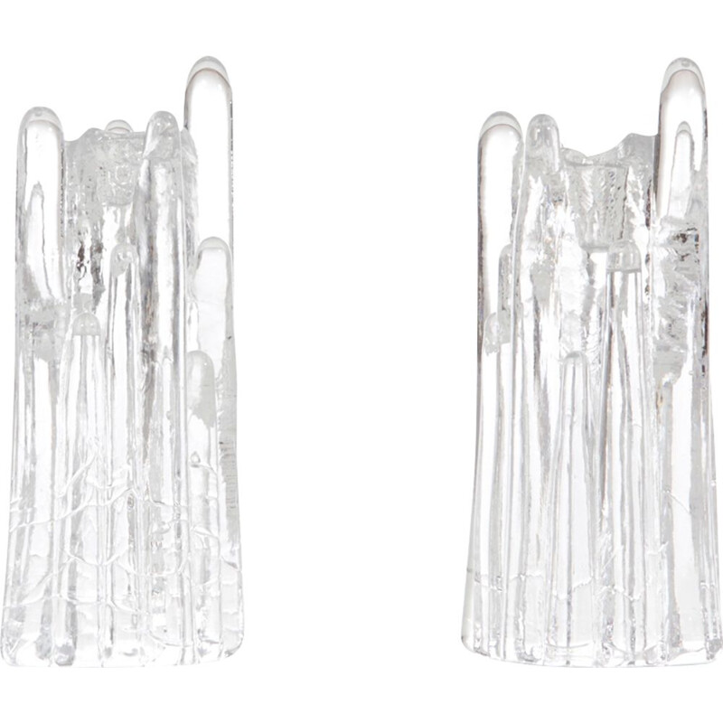 Set of 2 vintage Scandinavian candlesticks in Crystal series Polar by Goran Warff
