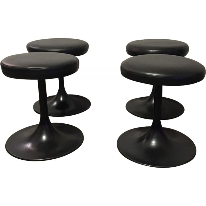 Excellent Set Of 4 Vintage Black Stools Tulip Foot Inzonedesignstudio Interior Chair Design Inzonedesignstudiocom