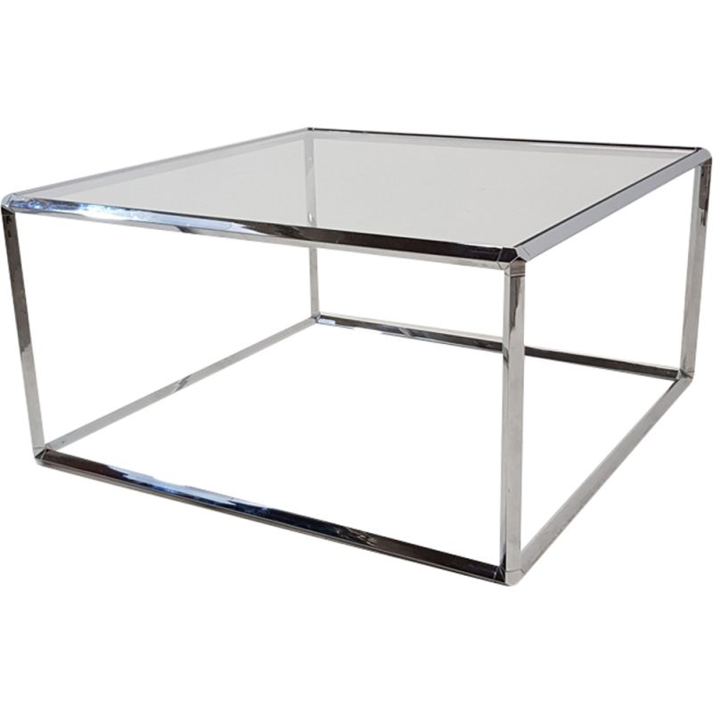 Vintage Coffee Table In Chromed Metal And Glass