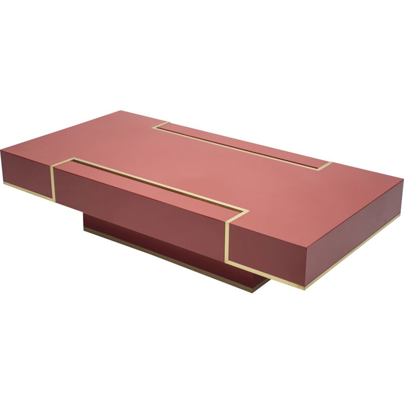 Red coffee table in brass by Jean-Claude Mahey