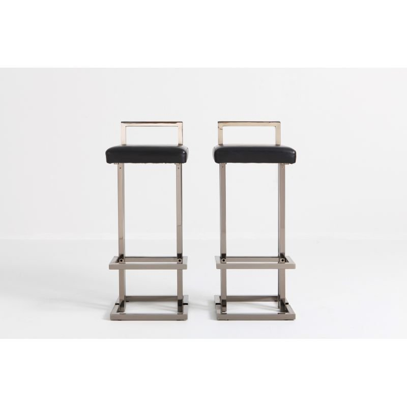 Cool Set Of 2 Vintage Bar Stools In Chrome And Black Leather By Maison Jansen Creativecarmelina Interior Chair Design Creativecarmelinacom