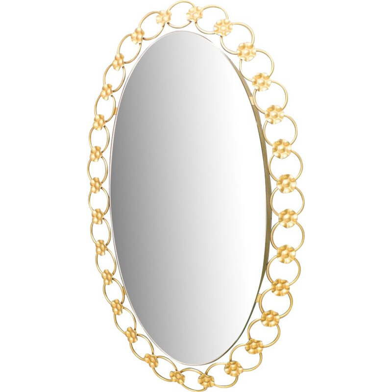 Vintage oval illuminated mirror with gilded metal rings