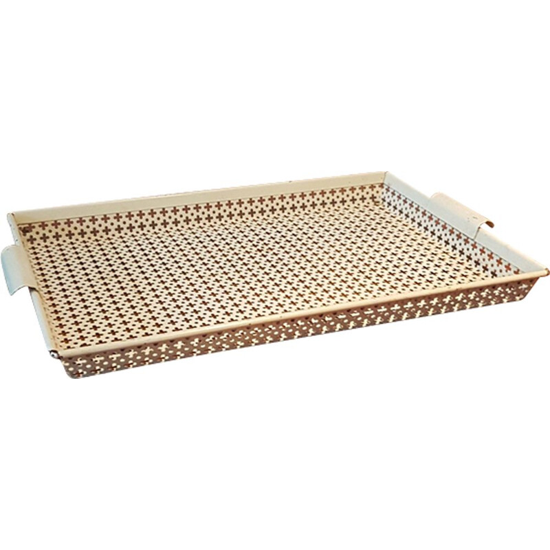 Vintage perforated metal serving tray by Mathieu Mategot