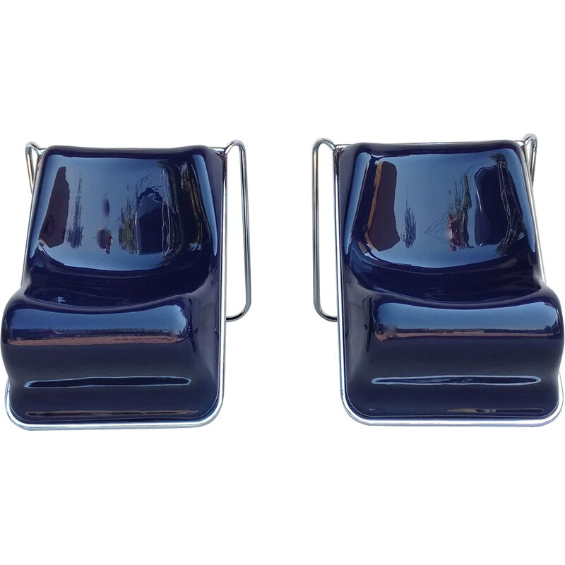 Pair of blue P110 armchairs by Alberto Rosselli