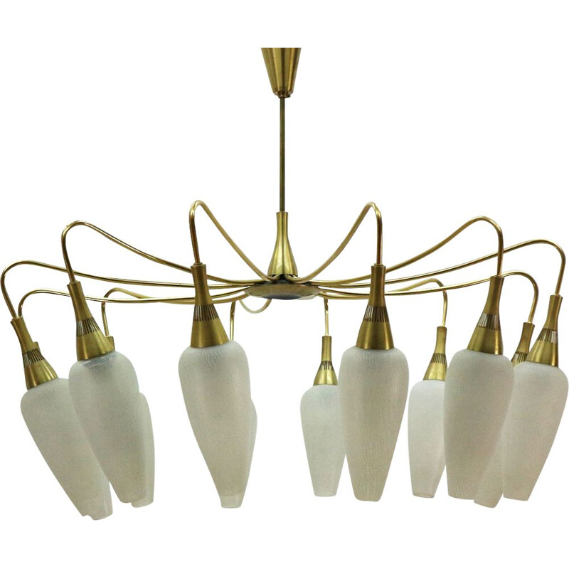 Vintage chandelier in brass and white glass