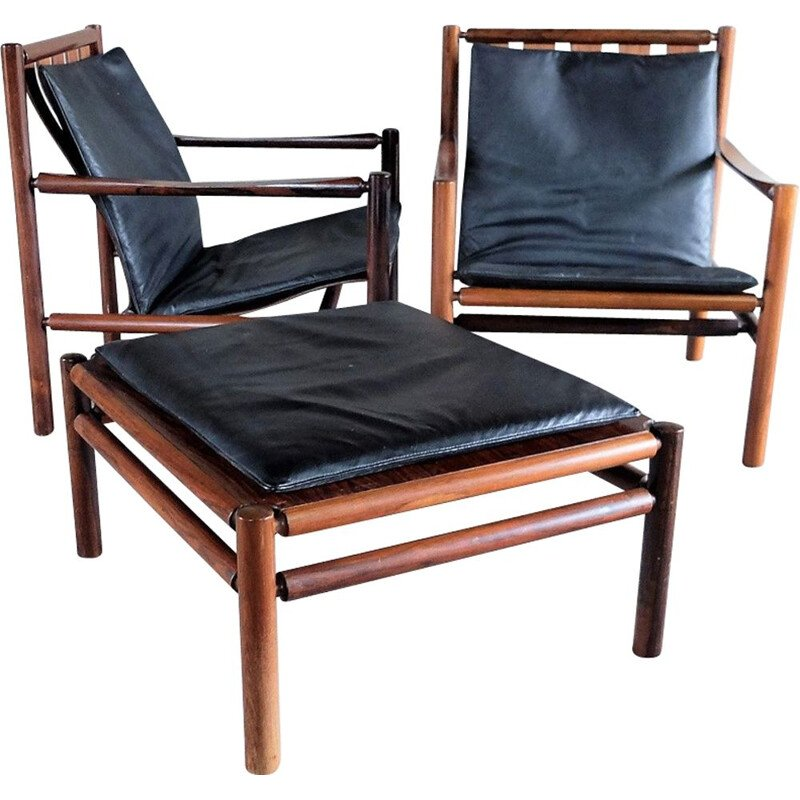 Pair of armchairs and ottoman in rosewood by Jörgen Nilsson