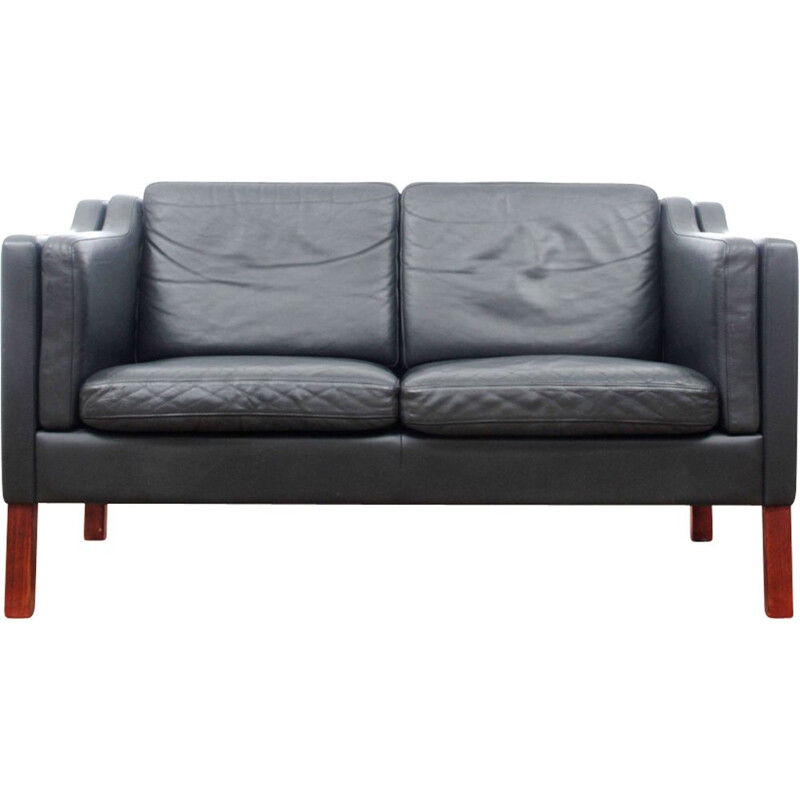 Vintage black leather sofa by Borge Mogensen