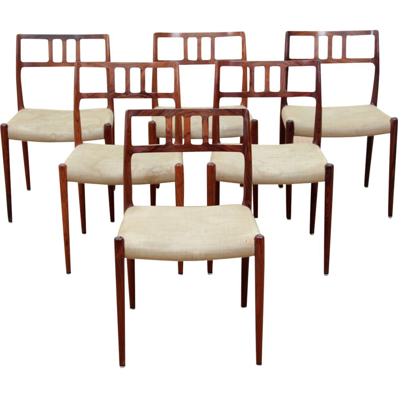 Set of 6 vintage chairs Scandinavian model 79 in Rio rosewood
