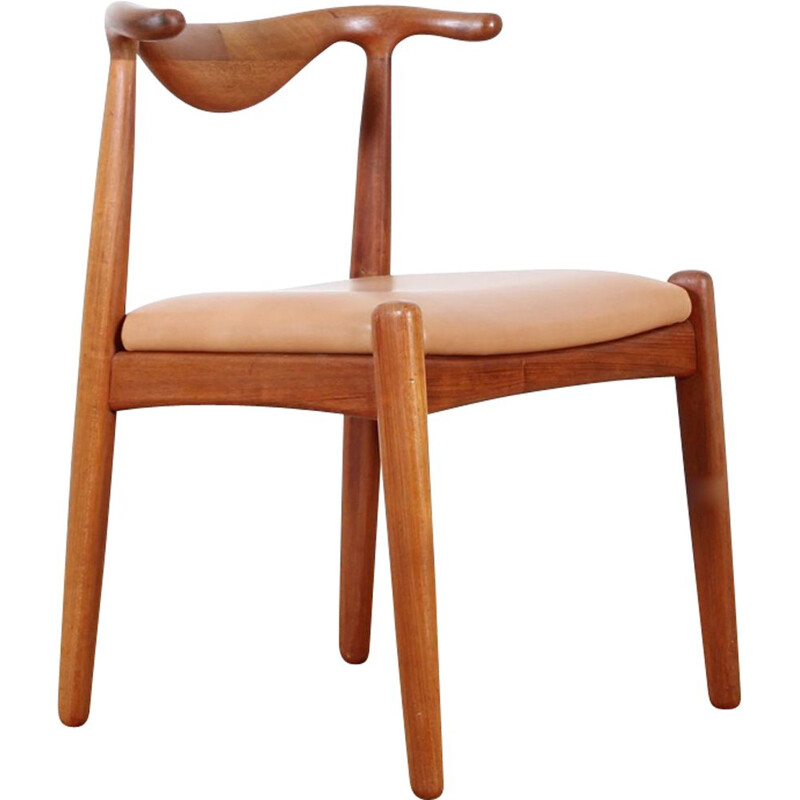 Set of 4 Scandinavian chairs in leather