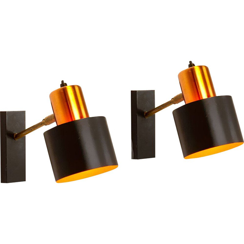 Set of 2 vintage copper Alfa wall lamps by Jo Hammerborg for Fog & Morup