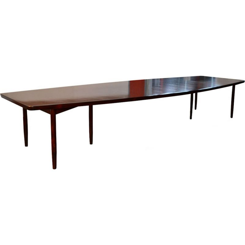 Danish design rosewood boat-shape conference table