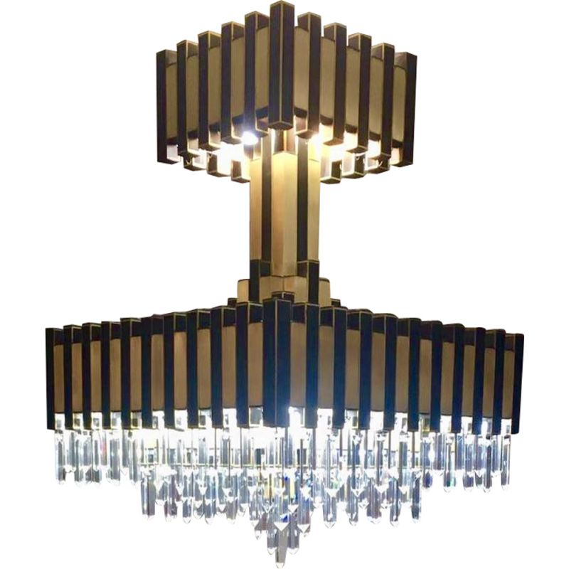 Italian brass chandelier with crystals
